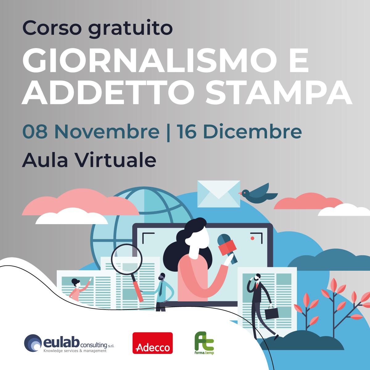 Corso di Formazione Professionale Gratuito in GIORNALISMO E ADDETTO STAMPA (NOVEMBRE 2021)