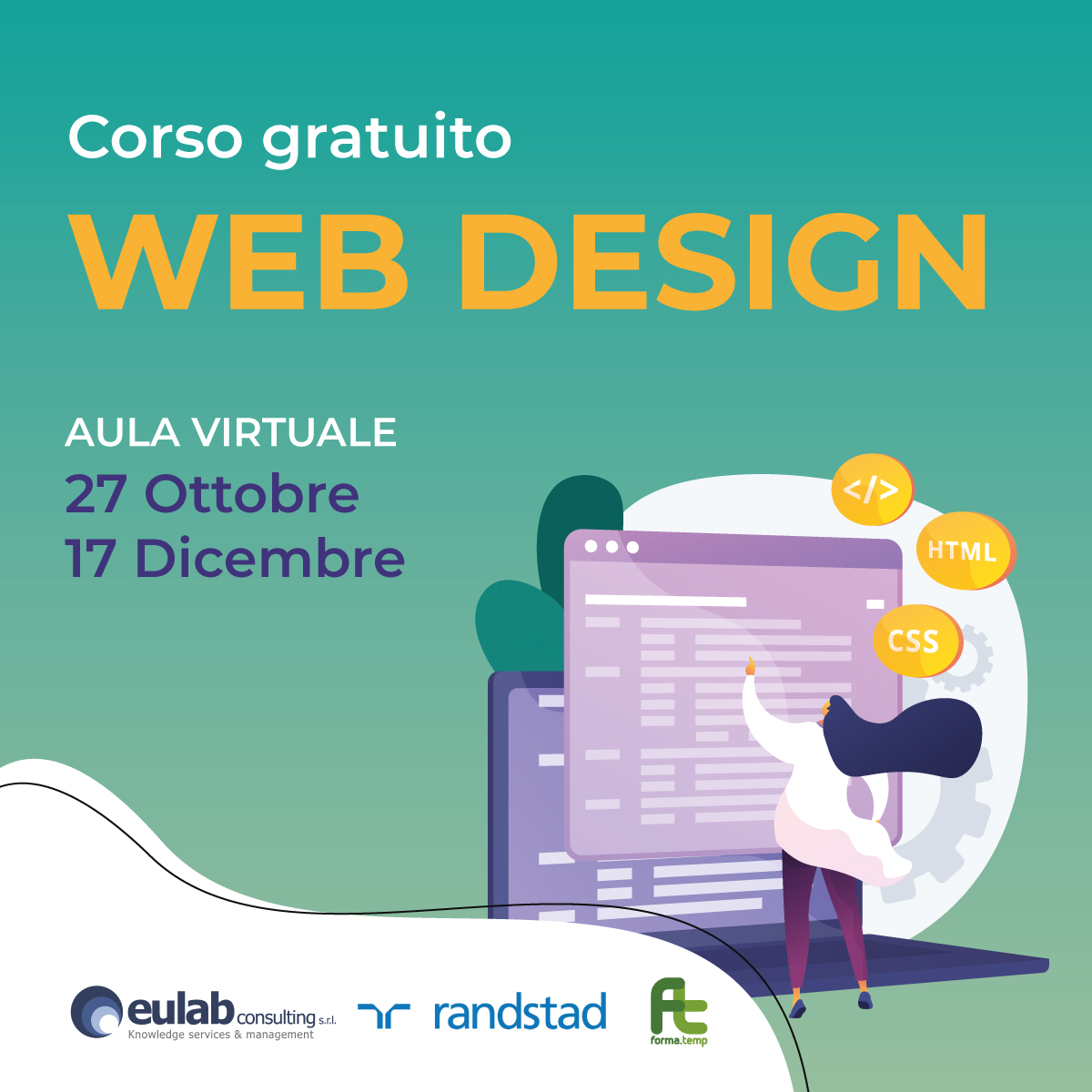 Corso di Formazione Professionale Gratuito in WEB DESIGN (OTTOBRE 2021)